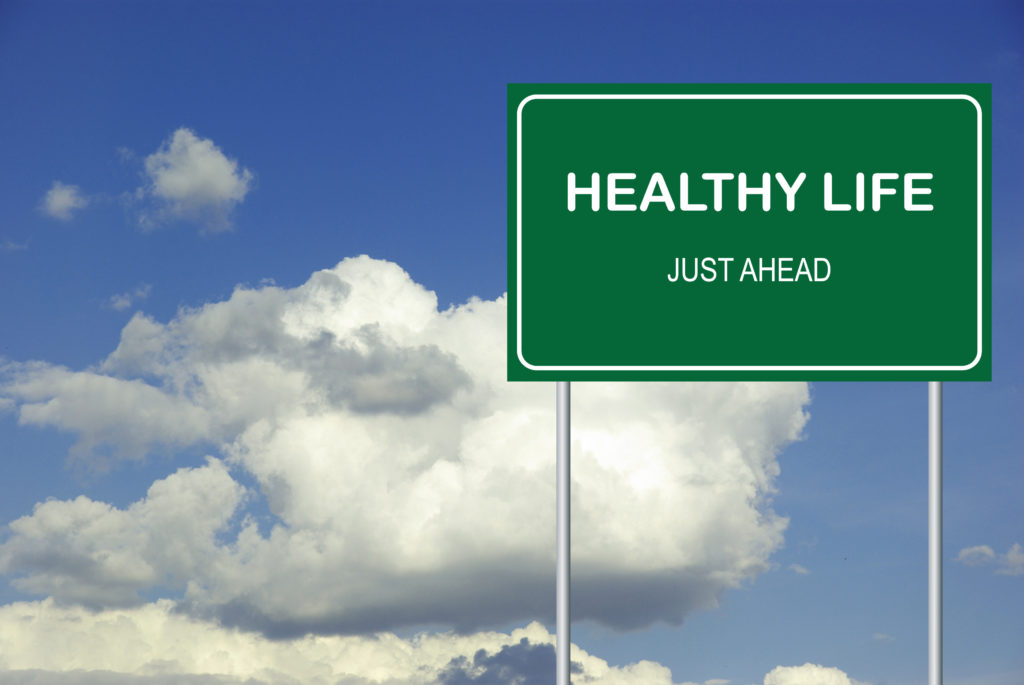 Healthy Life Just Ahead Sign